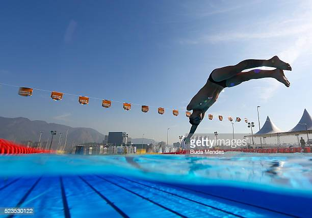 Luis Armando Andrade Guillen of Mexico trains in the warm up pool during the Paralympic Swimming Tournament Aquece Rio Test Event for the Rio 2016...