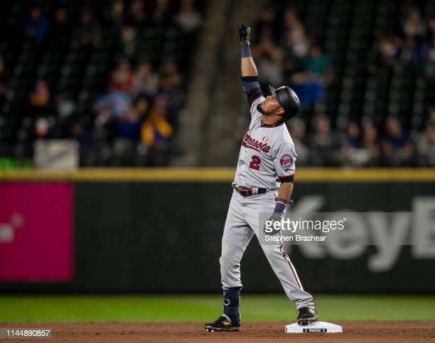Luis Arraez of the Minnesota Twins celebrates after getting hits first major league hit a double off of reliever Cory Gearrin of the Seattle Mariners...