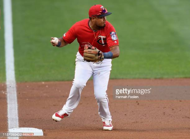 Luis Arraez of the Minnesota Twins steps on third base to start a triple play against the New York Yankees during the first inning of the game on...