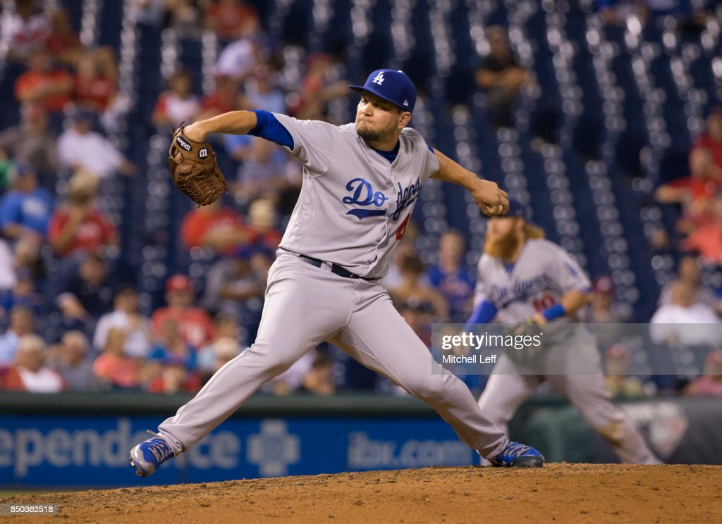 Luis Avilan #43 of the Los Angeles Dodgers throws a pitch in the bottom of the eighth inning at Citizens Bank Park on September 20, 2017 in Philadelphia, Pennsylvania. The Phillies defeated the Dodgers 7-5.
