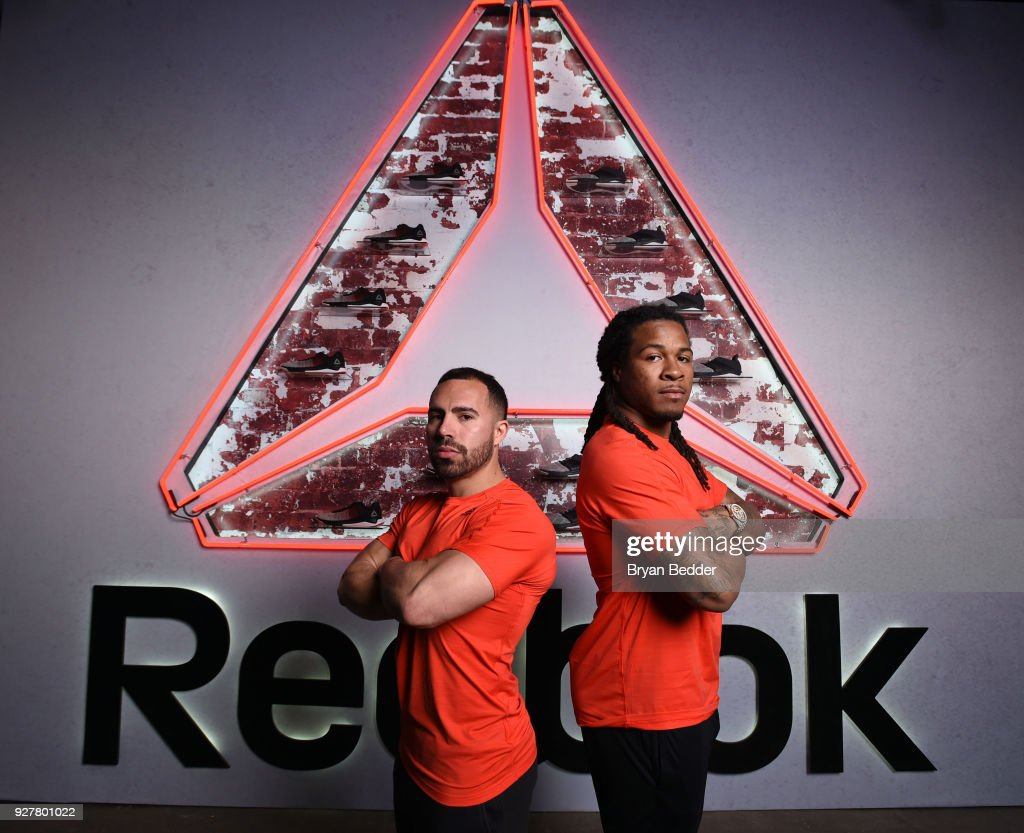 Luis Badillo Jr. and football player Devonta Freeman attends the Reebok Fast Flexweave event at Industria Studios on March 5, 2018 in New York City.