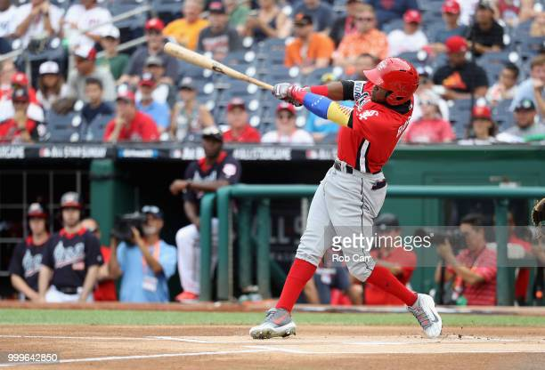 Luis Basabe of the Chicago White Sox and the World Team bats against the US Team in the first inning during the SiriusXM AllStar Futures Game at...
