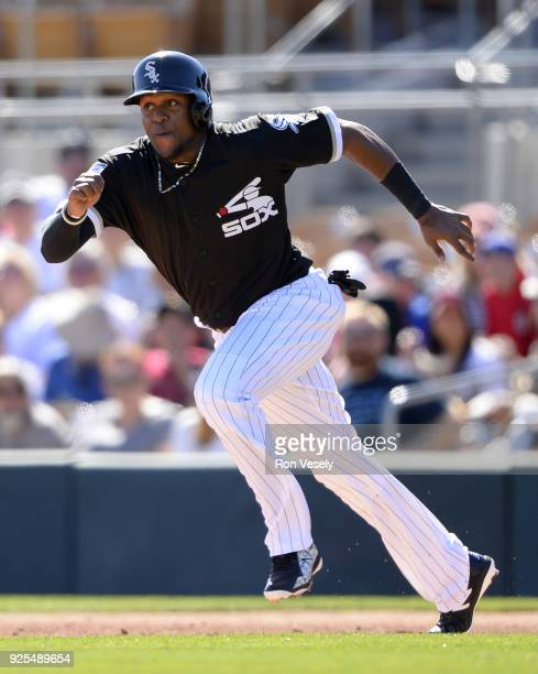 Luis Basabe of the Chicago White Sox runs the bases against the Cincinnati Reds on February 25 2018 at Camelback Ranch in Glendale Arizona