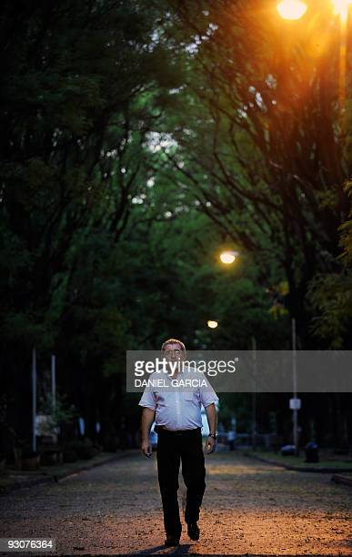 Luis Bianco poses on November 13 2009 in an internal street of the former Navy school where his mother was tortured and from where she was taken to a...
