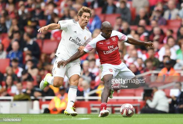 Luis Boa Morte of Arsenal during the match between Arsenal Legends and Real Madrid Legends at Emirates Stadium on September 8, 2018 in London, United...