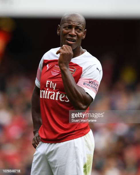 Luis Boa Morte of Arsenal gestures during the match between Arsenal Legends and Real Madrid Legends at Emirates Stadium on September 8, 2018 in...
