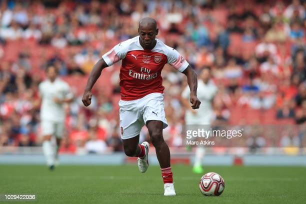 Luis Boa Morte of Arsenal uring the match between Arsenal Legends and Real Madrid Legends at Emirates Stadium on September 8, 2018 in London, United...