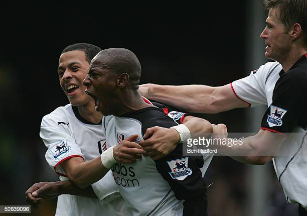 Luis Boa Morte of Fulham celebrates his goal with Liam Rosenior and Brian McBride during the Barclays Premiership League match between Fulham and...