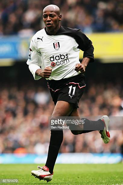 Luis Boa Morte of Fulham in action during the Barclays Premiership match between Chelsea and Fulham at Stamford Bridge on April 23, 2005 in London,...