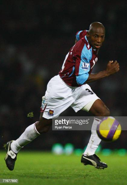 Luis Boa Morte of West Ham runs with the ball during the Barclays Premier League match between West Ham United and Bolton Wanderers at Upton Park on...