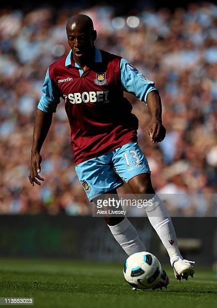 Luis Boa Morte of West Ham United in action during the Barclays Premier League match between Manchester City and West Ham United at the City of...