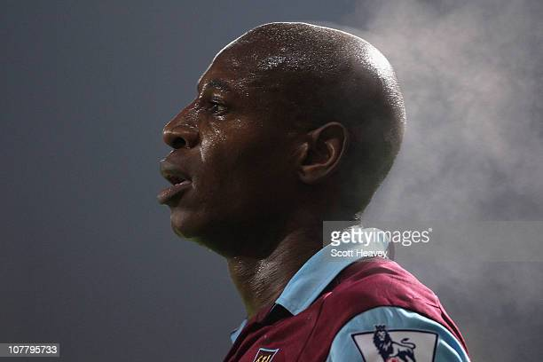 Luis Boa Morte of West Ham United looks on during the Barclays Premier League match between West Ham United and Everton at the Boleyn Ground on...