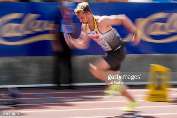 Luis Brandner of Germany competes during Men's 4 x 100m Relay Round 1 during 2021 European Athletics U23 Championships - Day 4 at at Kadriorg Stadium...