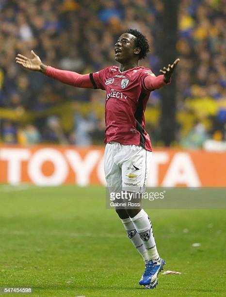 Luis Caicedo of Independiente del Valle celebrates after scoring the first goal of his team during a second leg match between Boca Juniors and...