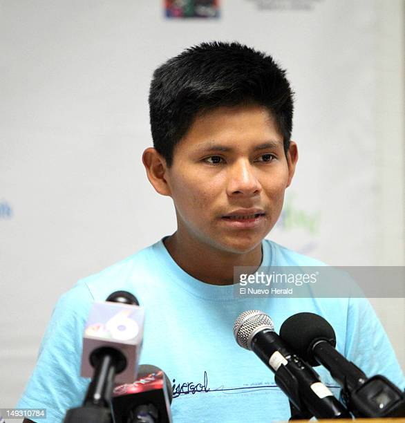 Luis Canelos answers questions during a press conference at the Ira C Clark Diagnostic Treatment Center Thursday July 26 in Miami Florida Luis lost...