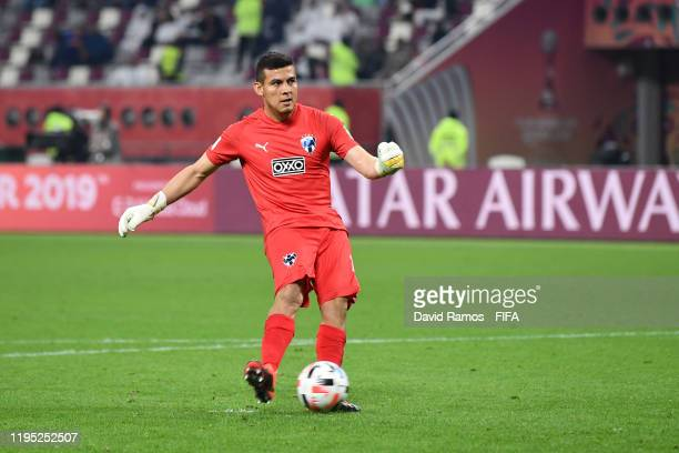 Luis Cardenas of CF Monterrey scores the winning penalty during the penalty shootout to give victory to CF Monterrey in the FIFA Club World Cup Qatar...