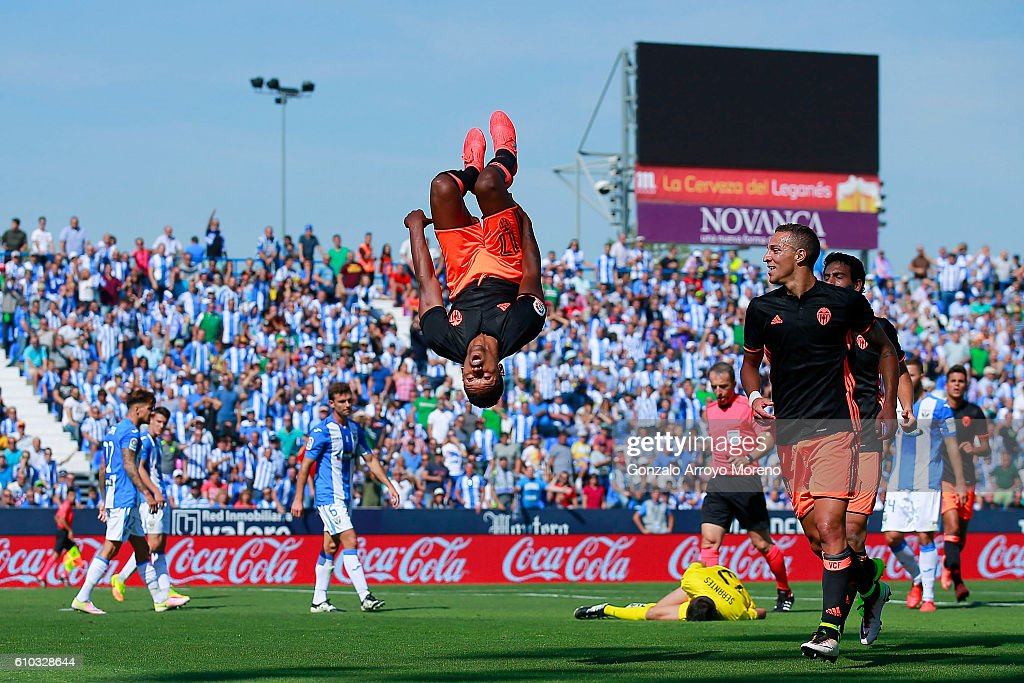 Luis Carlos Almeida alias Nani (L) of Valencia CF celebrates scoring their opening goal during the La Liga match between CD Leganes and Valencia CF at Estadio Municipal de Butarque on September 25, 2016 in Leganes, Spain.