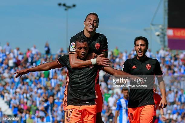 Luis Carlos Almeida alias Nani of Valencia CF celebrates scoring their opening goal during the La Liga match between CD Leganes and Valencia CF at...