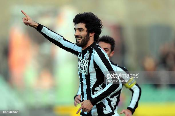 Luis Carlos Novo Neto of AC Siena celebrates after scoring the opening goal of the Serie A match between AC Siena and AS Roma at Stadio Artemio...