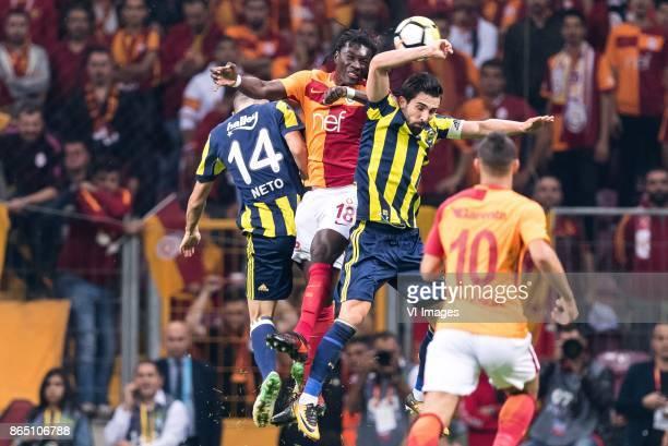 Luis Carlos Novo Neto of Fenerbahce SK Bafetimbi Gomis of Galatasaray SK Hasan Ali Kaldirim of Fenerbahce SK Younes Belhanda of Galatasaray SK during...