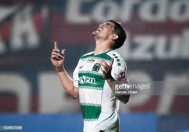 Luis Casanova of Deportes Temuco celebrates after winning a second stage match between San Lorenzo and Deportes Temuco as part of Copa CONMEBOL...