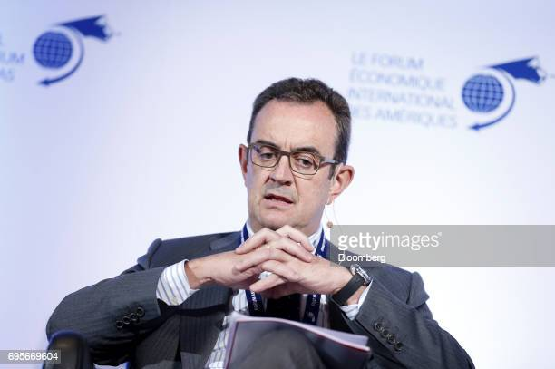 Luis Castilla chief executive officer of infrastructure at Acciona SA speaks during the International Economic Forum Of The Americas in Montreal...