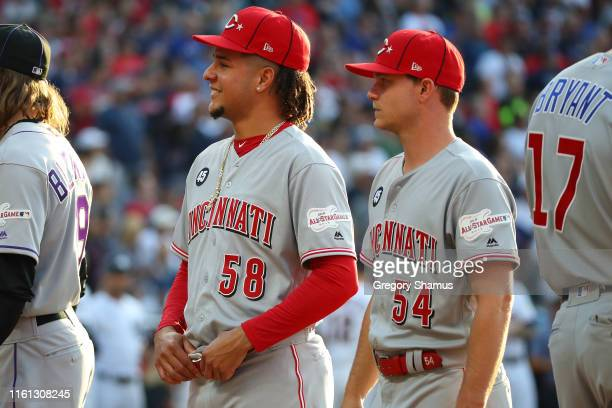 Luis Castillo and Sonny Gray of the Cincinnati Reds during the 2019 MLB All-Star Game at Progressive Field on July 09, 2019 in Cleveland, Ohio.