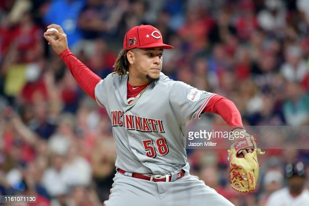 Luis Castillo of the Cincinnati Reds and the National League pitches against the American League during the 2019 MLB All-Star Game, presented by...