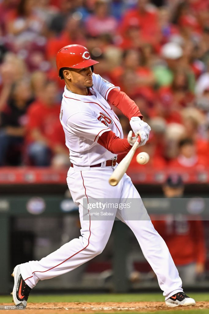 Luis Castillo #58 of the Cincinnati Reds bats against the St. Louis Cardinals at Great American Ball Park on August 5, 2017 in Cincinnati, Ohio.