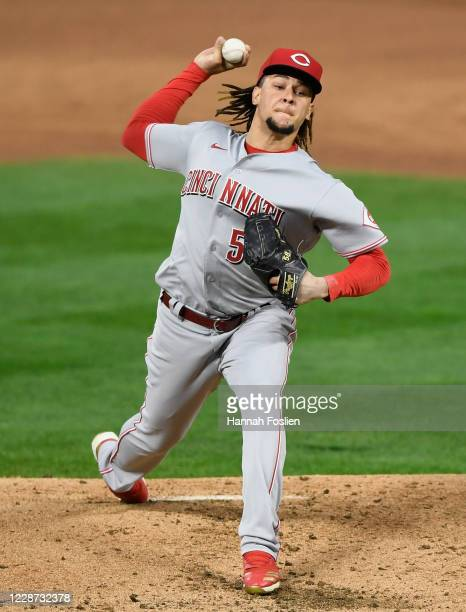 Luis Castillo of the Cincinnati Reds delivers a pitch against the Minnesota Twins during the first inning of the game at Target Field on September...