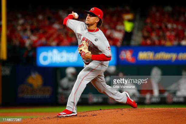Luis Castillo of the Cincinnati Reds delivers a pitch against the St Louis Cardinals in the first inning at Busch Stadium on June 4 2019 in St Louis...