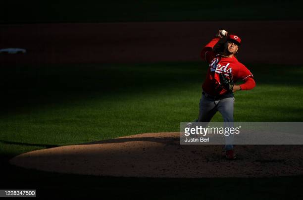 Luis Castillo of the Cincinnati Reds delivers a pitch in the fifth inning during game one of a doubleheader against the Pittsburgh Pirates at PNC...