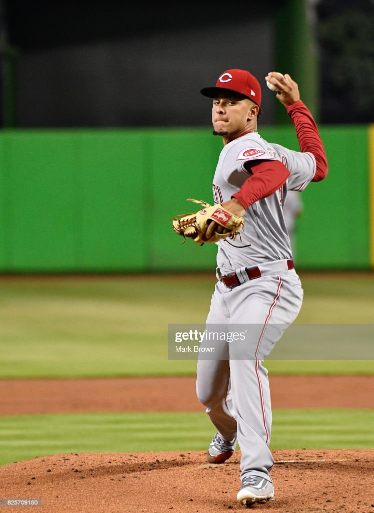 Luis Castillo #58 of the Cincinnati Reds in action during the game between the Miami Marlins and the Cincinnati Reds at Marlins Park on July 30, 2017 in Miami, Florida.