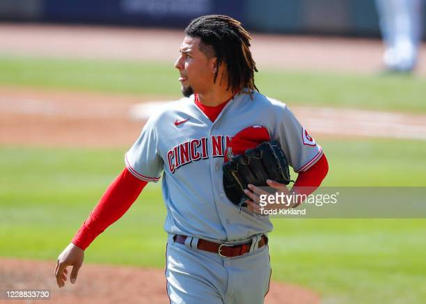 Luis Castillo of the Cincinnati Reds leaves the game in the sixth inning of Game Two of the National League Wild Card Series against the Atlanta...