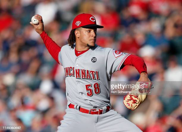 Luis Castillo of the Cincinnati Reds pitches against the Cleveland Indians during the first inning at Progressive Field on June 11 2019 in Cleveland...