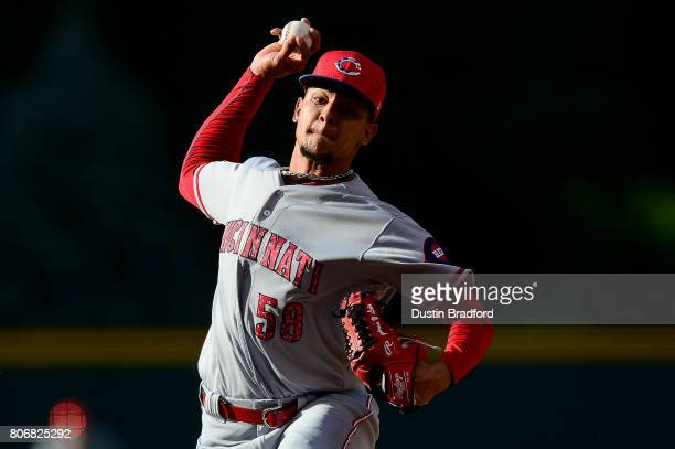 Luis Castillo of the Cincinnati Reds pitches against the Colorado Rockies in the first inning of a game at Coors Field on July 3 2017 in Denver...