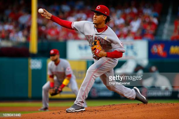 Luis Castillo of the Cincinnati Reds pitches against the St Louis Cardinals in the first inning at Busch Stadium on September 1 2018 in St Louis...