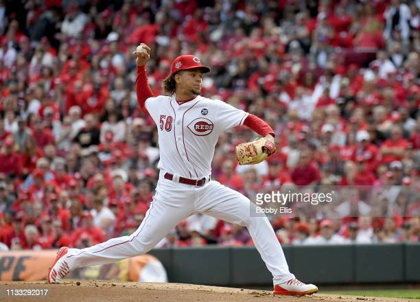 Luis Castillo of the Cincinnati Reds pitches during the first inning of the game on Opening Day between the Pittsburgh Pirates and the Cincinnati...