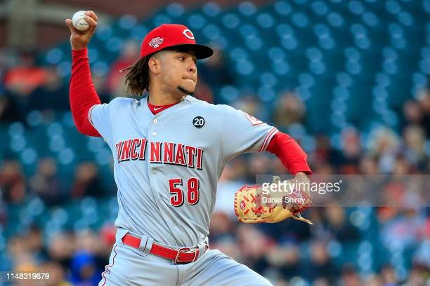 Luis Castillo of the Cincinnati Reds pitches during the first inning against the San Francisco Giants at Oracle Park on May 10 2019 in San Francisco...