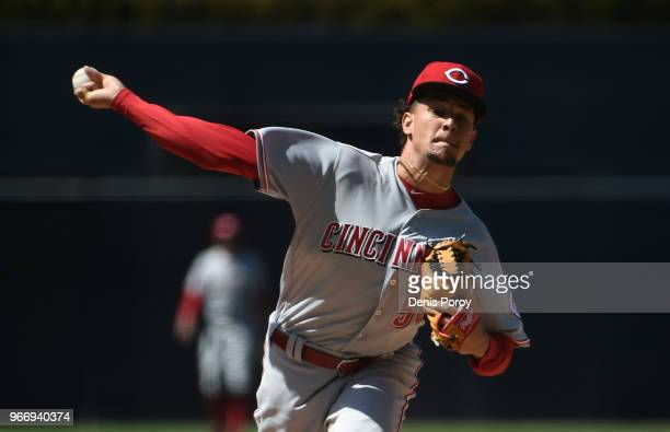 Luis Castillo of the Cincinnati Reds pitches during the first inning of a baseball game against the San Diego Padres at PETCO Park on June 3 2018 in...