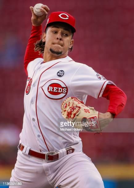 Luis Castillo of the Cincinnati Reds pitches during the game against the Miami Marlins at Great American Ball Park on April 9 2019 in Cincinnati Ohio