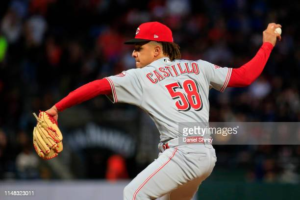 Luis Castillo of the Cincinnati Reds pitches during the third inning against the San Francisco Giants at Oracle Park on May 10 2019 in San Francisco...