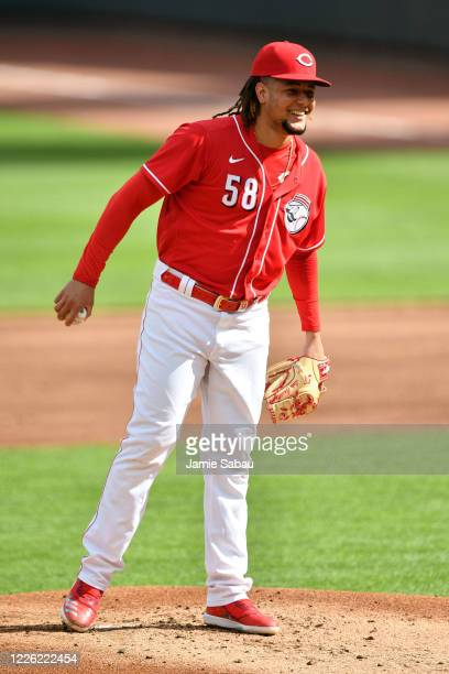 Luis Castillo of the Cincinnati Reds pitches in an intrasquad scrimmage during a summer workout at Great American Ball Park on July 10, 2020 in...