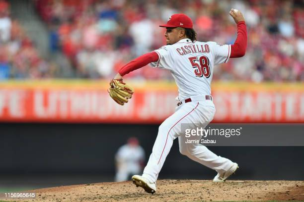 Luis Castillo of the Cincinnati Reds pitches in the fifth inning against the St. Louis Cardinals at Great American Ball Park on July 20, 2019 in...