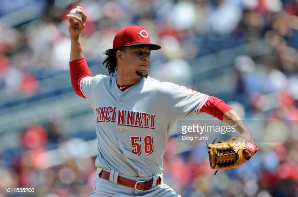 Luis Castillo of the Cincinnati Reds pitches in the first inning against the Washington Nationals at Nationals Park on August 5 2018 in Washington DC