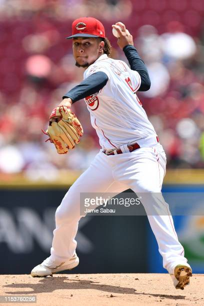 Luis Castillo of the Cincinnati Reds pitches in the first inning against the Milwaukee Brewers at Great American Ball Park on July 4 2019 in...