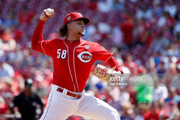 Luis Castillo of the Cincinnati Reds pitches in the first inning against the Chicago Cubs at Great American Ball Park on June 29 2019 in Cincinnati...