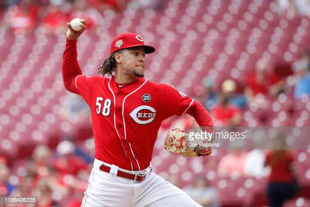 Luis Castillo of the Cincinnati Reds pitches in the first inning against the San Diego Padres at Great American Ball Park on August 21, 2019 in...