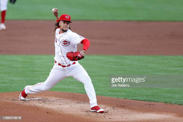 Luis Castillo of the Cincinnati Reds pitches in the first inning against the Kansas City Royals at Great American Ball Park on August 11, 2020 in...