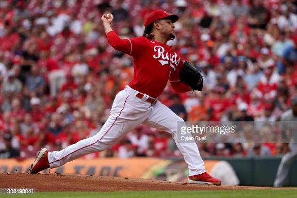 Luis Castillo of the Cincinnati Reds pitches in the first inning against the Detroit Tigers at Great American Ball Park on September 05, 2021 in...